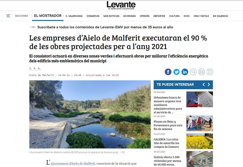 LEVANTE: Les empreses d'Aielo de Malferit executaran el 90 % de les obres projectades per a l'any 2021