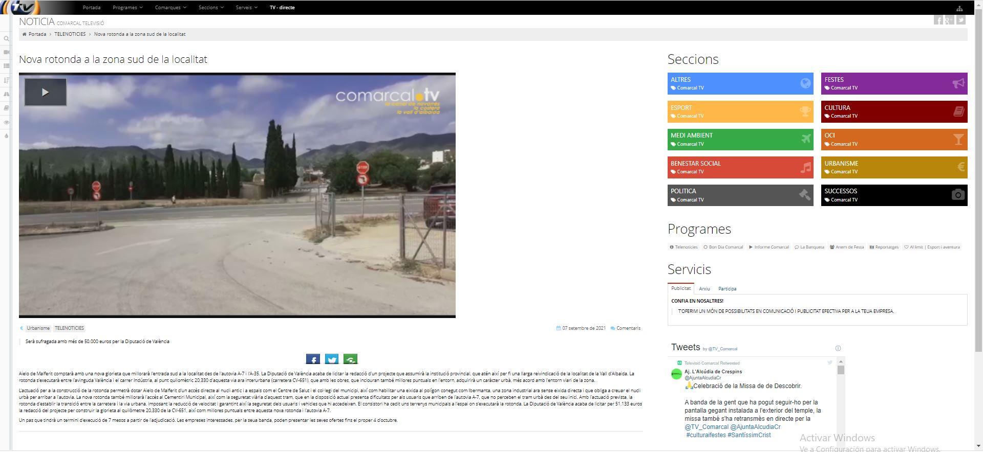 Notícia Comarcal TV: Nova rotonda a la zona sud de la localitat