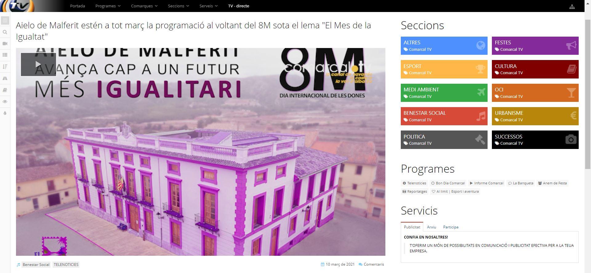 """COMARCAL TV: Aielo de Malferit estén a tot març la programació al voltant del 8M sota el lema """"El Mes de la Igualtat"""""""