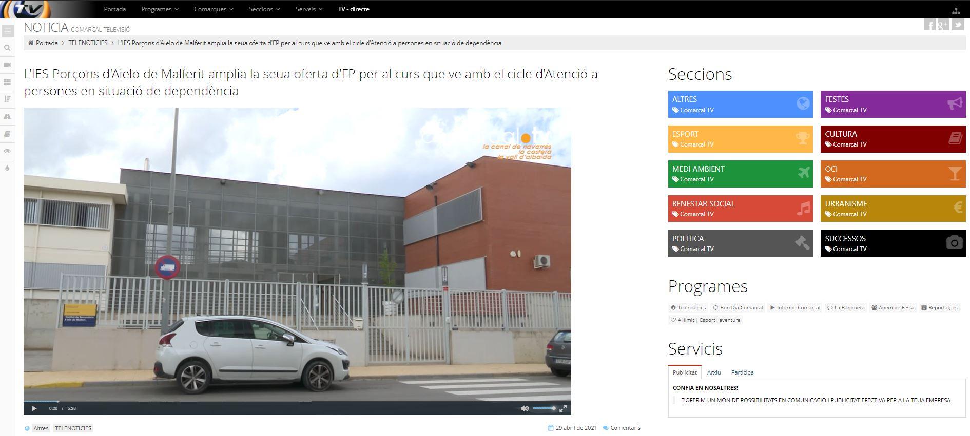 COMARCAL TV: L'IES Porçons d'Aielo de Malferit amplia la seua oferta d'FP per al curs que ve amb el cicle d'Atenció a persones en situació de dependència