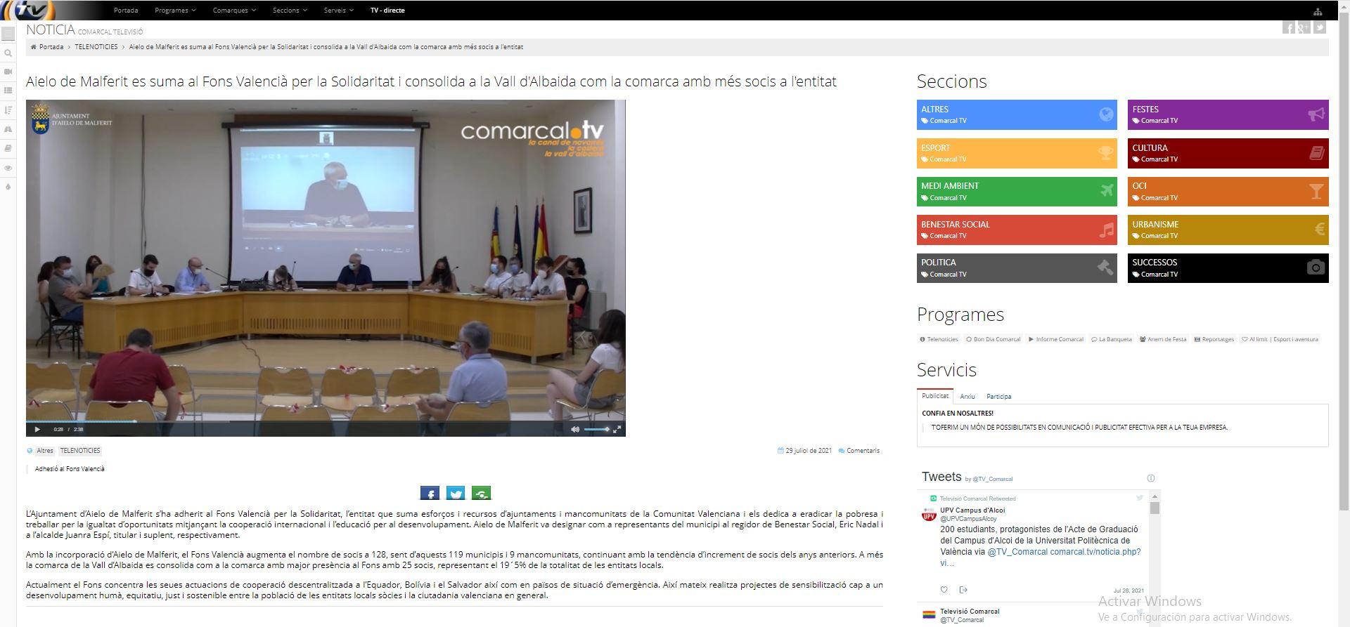 COMARCAL TV: Aielo de Malferit es suma al Fons Valencià per la Solidaritat i consolida a la Vall d'Albaida com la comarca amb més socis a l'entitat