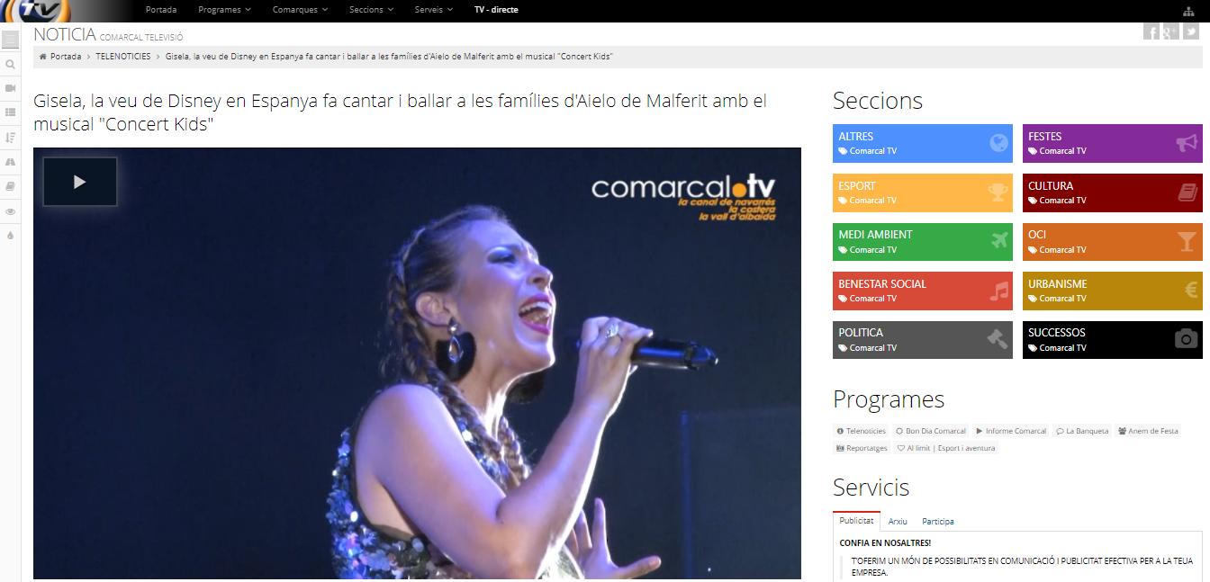 """Notícia Comarcal TV: Gisela, la veu de Disney en Espanya fa cantar i ballar a les famílies d'Aielo de Malferit amb el musical """"Concert Kids"""""""