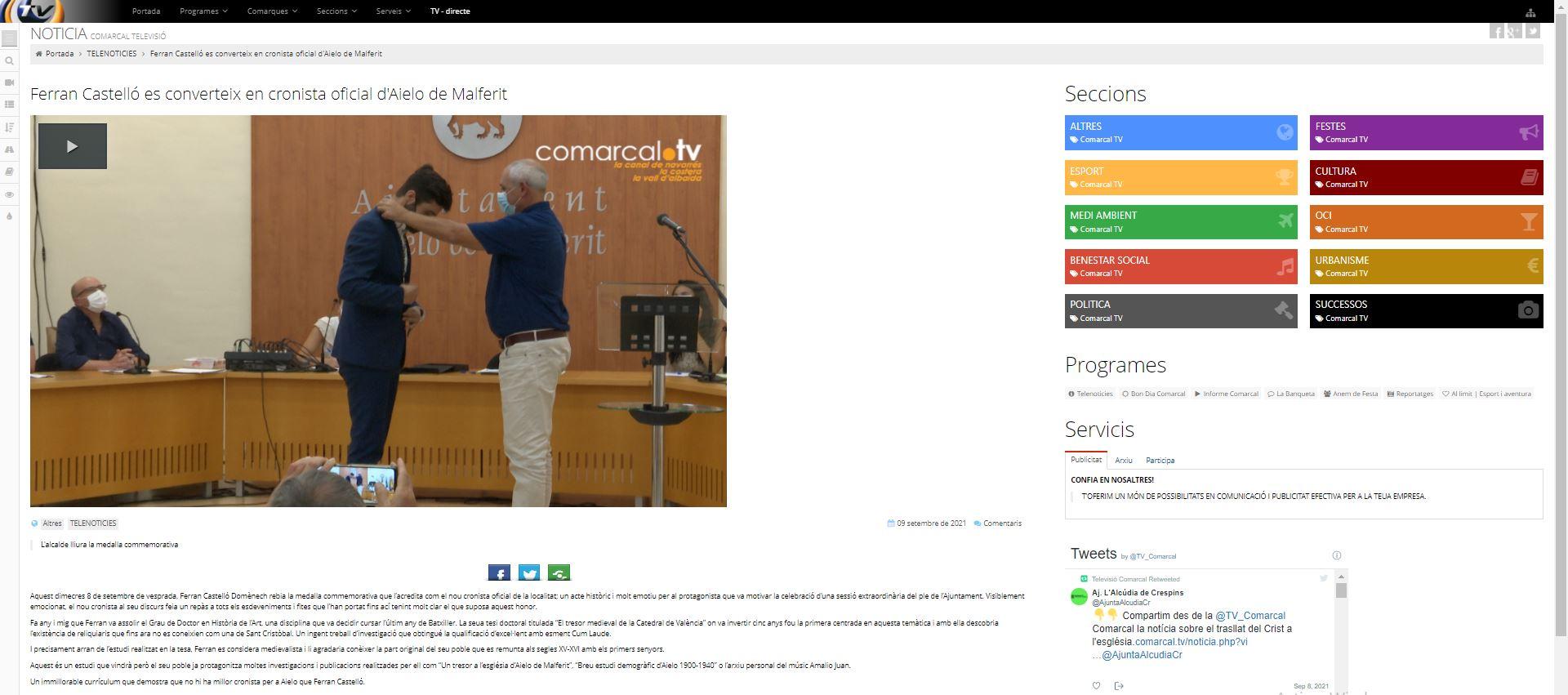 Notícia Comarcal TV: Ferran Castelló es converteix en cronista oficial d'Aielo de Malferit