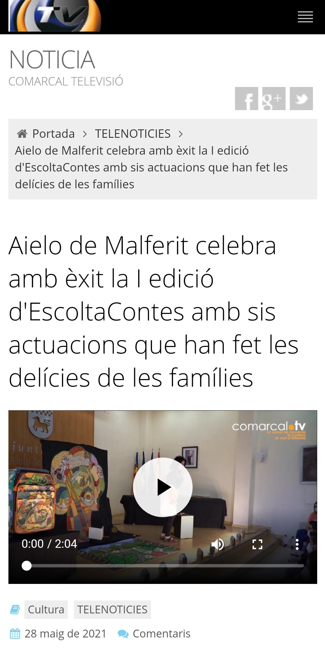 Notícia Comarcal TV: Aielo de Malferit celebra amb èxit la I edició d'EscoltaContes