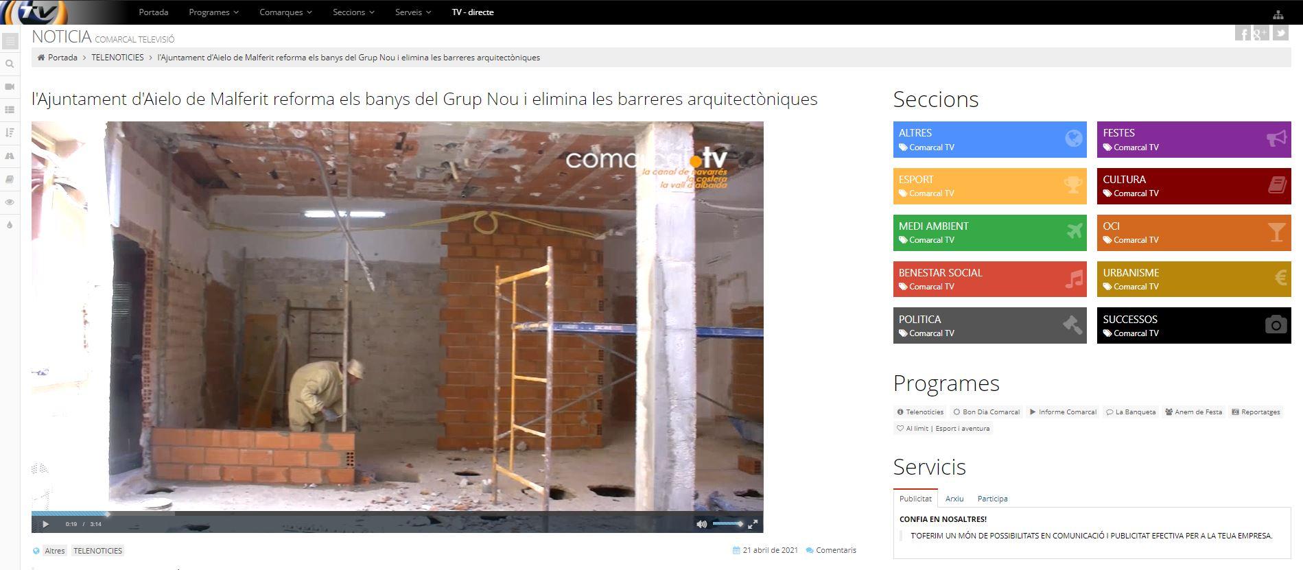 COMARCAL TV: l'Ajuntament d'Aielo de Malferit reforma els banys del Grup Nou i elimina les barreres arquitectòniques