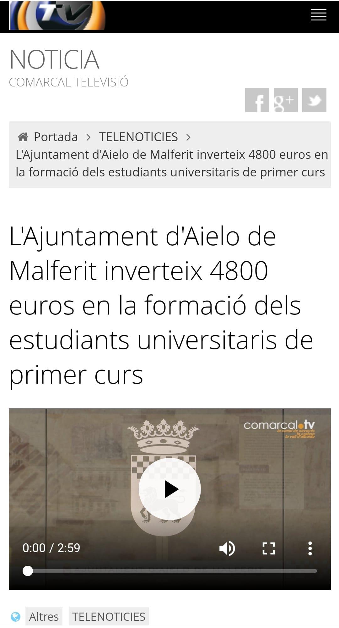 L'Ajuntament d'Aielo de Malferit inverteix 4800 euros en la formació dels estudiants universitaris de primer curs
