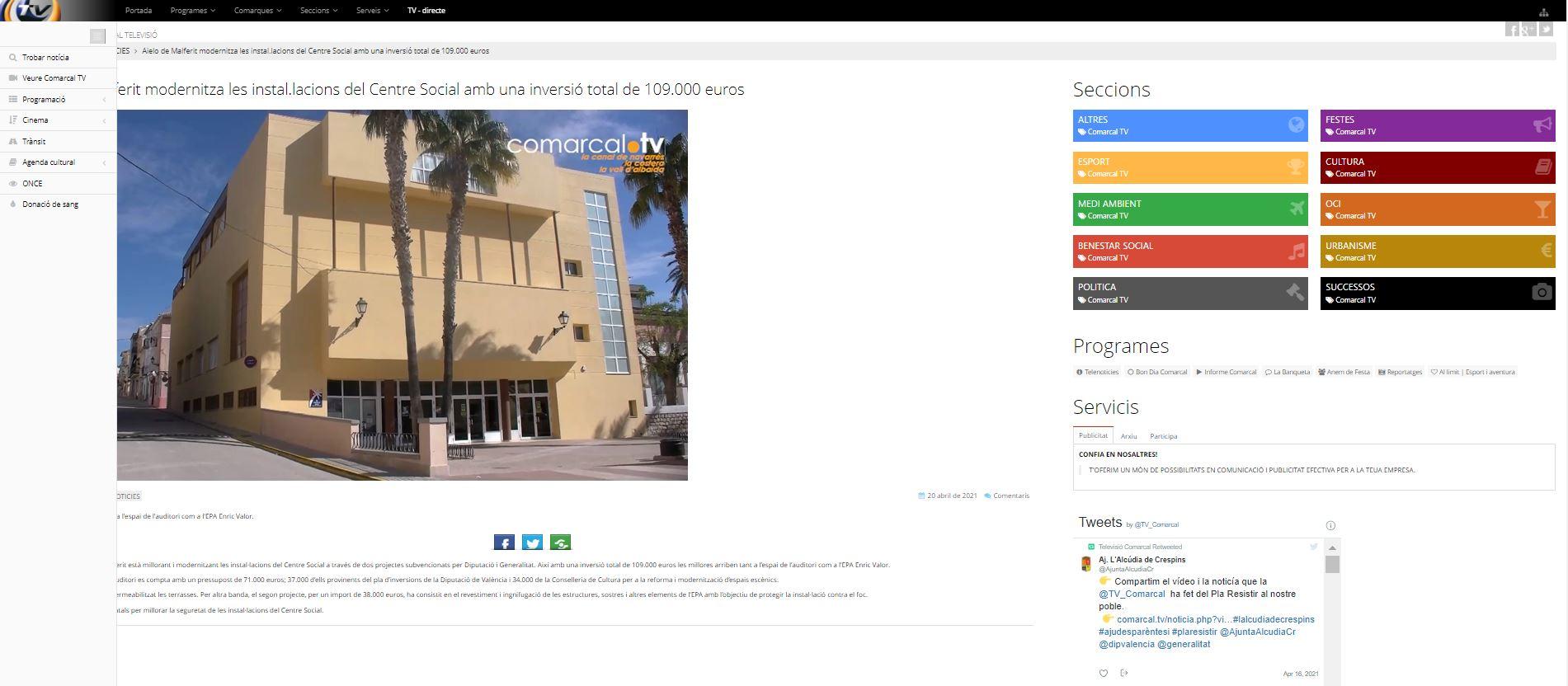 COMARCAL TV: Aielo de Malferit modernitza les instal.lacions del Centre Social amb una inversió total de 109.000 euros
