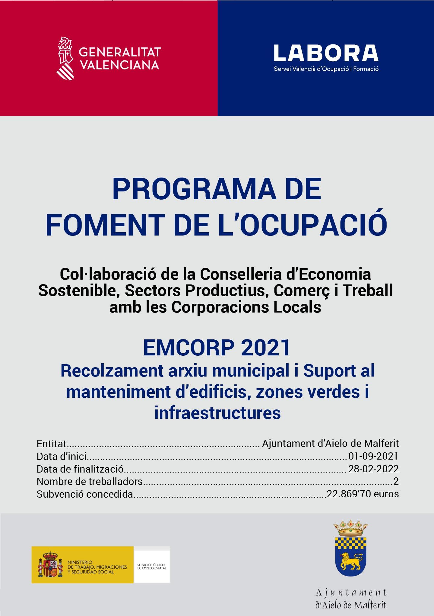 L'Ajuntament contracta 2 persones aturades dintre del programa EMCORP